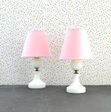 table lamp white hobnail lamps pink shade polka dots bedside