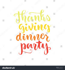 thanksgiving party flyer thanks giving dinner party lettering hand stock vector 337980344