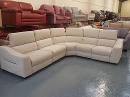 Large Corner Sofa Ex Display Elixir Natural Plain Fabric Electric Recliner Large