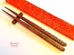 personalized chopsticks personalized chopsticks walnut wood custom carved to order in
