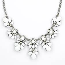 black white crystal necklace images Stone bib necklace white floral necklace by shamelessly sparkly jpg
