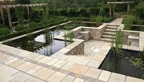 Sunken Patio Eye Level Pond With Sunken Patio Pangbourne Berkshire Garden