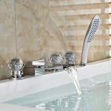 Handheld Bathtub Faucet Athenian Crystal Handle Chrome Finish Waterfall Bathtub Faucet