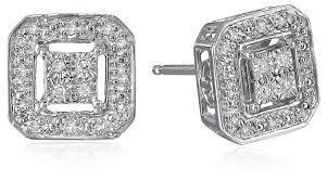 diamonds earrings sterling silver diamond square shape stud earrings 1