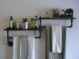 industrial bathroom shelf towel rack combo the by mobeedesigns