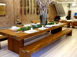 Big Wood Dining Table Dinner For Eight With Salvaged Tree Limb Centerpiece