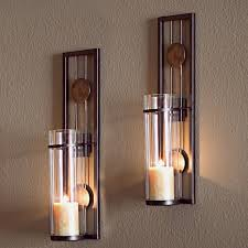 Candle Holder Wall Sconces Set Of 2 Contemporary Metal Wall Candle Holder Sconces Decor