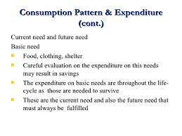 what does pattern mean consumption pattern and expenditure