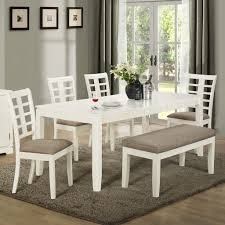 white dining room table with bench 14744