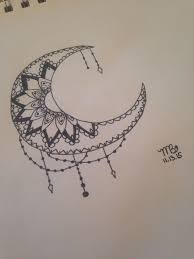 crescent moon with mandala done by mati bickhard artwork ideas