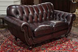 Brown Leather Loveseat Furniture Dark Brown With Chair Tufted Leather Loveseat For