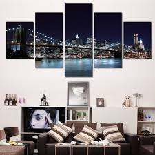 compare prices on brooklyn bridge poster online shopping buy low 5 pieces canvas prints new york city famous brooklyn bridge painting wall art home decor panels
