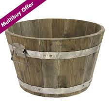 Half Barrel Planters by Cadix Acacia Rustic Half Barrel Planter Wooden Barrel Planters