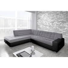 d achant tissu canap java canapé d angle gauche 6 places tissu gris et simili noir