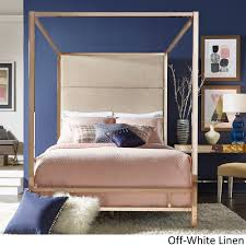 Gold Canopy Bed Evie Chagne Gold Metal Canopy Bed With Linen Panel Headboard By