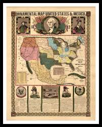 Vintage United States Map by 1847 Ornamental Map Of The United States And Mexico Vintage Art