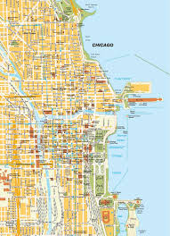 chicago tourist map map chicago il city center illinois usa central downtown maps