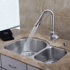 brass kitchen sink and faucet wide spread two handle side sprayer