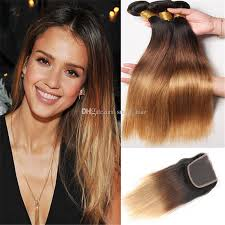 dark hair after 70 honey blonde brazilian ombre straight hair bundles with lace