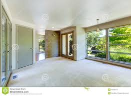 empty house interior living room with glass wall stock photo