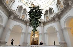 tate britain unveils an upside down floating christmas tree