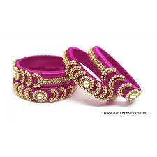 pink combination combination silk thread bangles