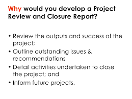 project closure report template ppt project closing
