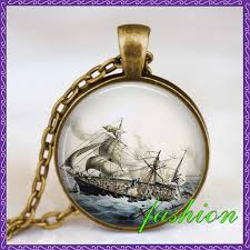 personalized gifts jewelry new design sailing ship photo necklace vintage ship necklace