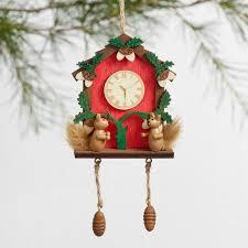 and green wood cuckoo clock ornaments set of 2 world market