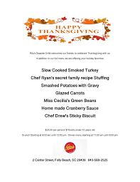 thanksgiving menu s seaside grille