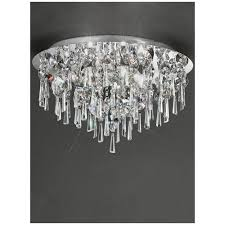 franklite jazzy crystal chrome semi flush bathroom ceiling light ip44