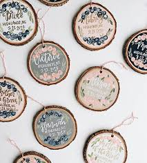 custom lettered wood ornaments painted wood slice