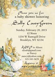 peter rabbit baby shower invitation beatrix potter bridal