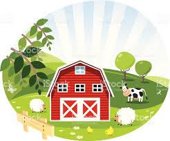 A Cartoon Barn Red Barn Green Farm Illustration Stock Vector Art 514730857 Istock