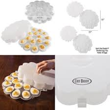 chef buddy deviled egg trays 2 set deviled egg trays snap on lids carrier plates safe material