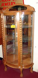 antique curio cabinet with curved glass curved glass curio cabinets antique curio cabinet curved glass
