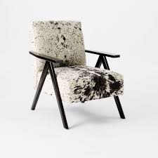 Cowhide Upholstery Retro Cowhide Chair Black White West Elm