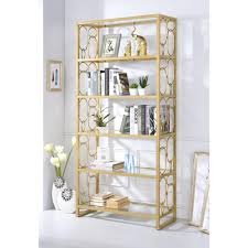 Gold Bookcase Acme Furniture Milavera Clear Glass And Gold Bookcase 92470 The