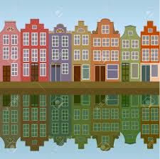 amsterdam houses on the canal bank seamless royalty free cliparts