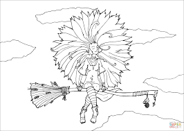 solar witch on broom coloring page free printable coloring pages
