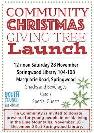 Christmas Carols Invitation Cards Blue Mountains Youth Council U0027s Community Christmas U0027giving Tree