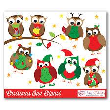 christmas owls clip art set designability clip art library