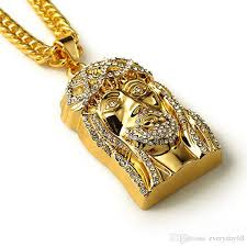 gold necklace with charm images Wholesale gold plated jesus christ piece head face hip hop pendant jpg