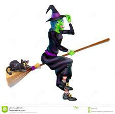 witch on broom with black cat stock photos image 33547433