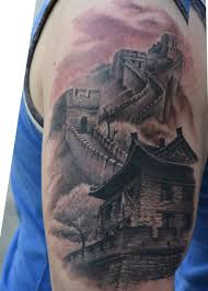 black and grey great wall of china tattoo on right half sleeve by