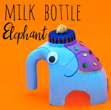 get recycling and make a milk bottle elephant http