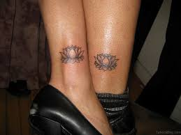 collection of 25 small black lotus flower on ankle