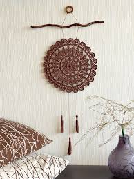 Country Home Wall Decor Large Crochet Dream Catcher Crochet Wall Decor Brown Crochet Dream