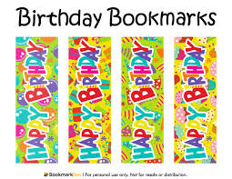 free printable birthday bookmarks featuring