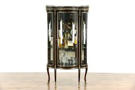 Antique Brass Display Cabinet Sold French Mahogany 1930 U0027s Vintage Curved Glass Curio Cabinet